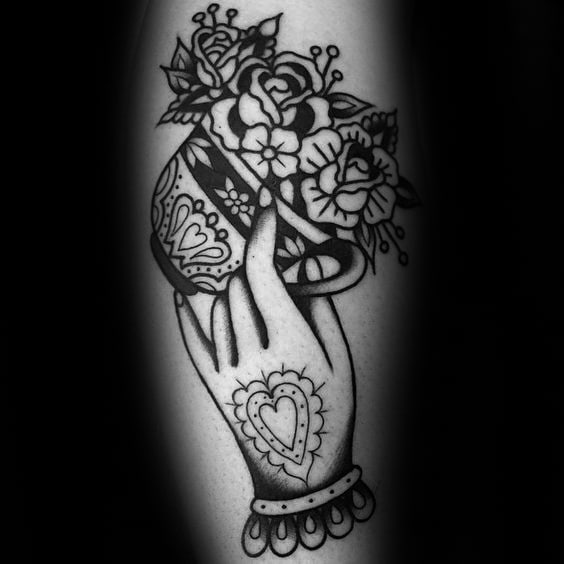 Ornate Flower Coffee Cup Mens Tattoo Ideas