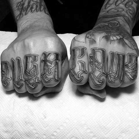 Ornate Font Fingers Male Overcome Tattoo Design Inspiration