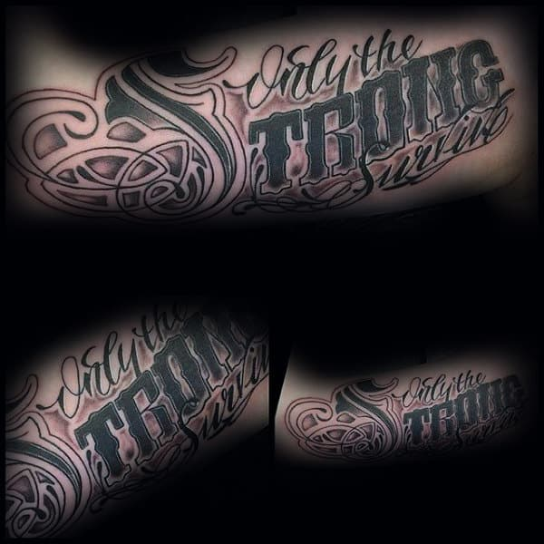 Ornate Font Only The Strong Survive Mens Rib Cage Side Tattoos