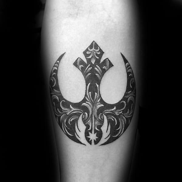 Ornate Forearm Male Rebel Alliance Tattoo Design Inspiration