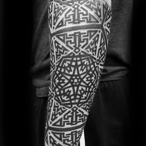 Ornate Forearm Sleeve Maze Mens Tattoo Designs