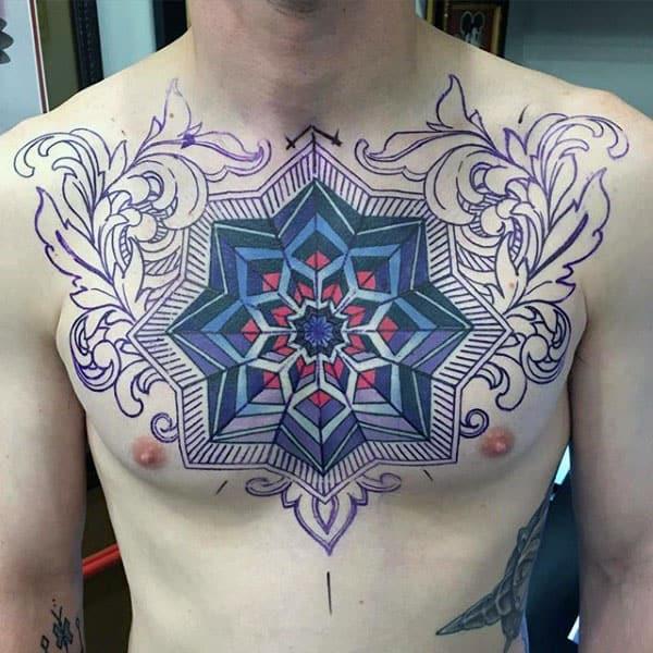 Ornate Geometric Floral Optical Illusion Male Chest Tattoo