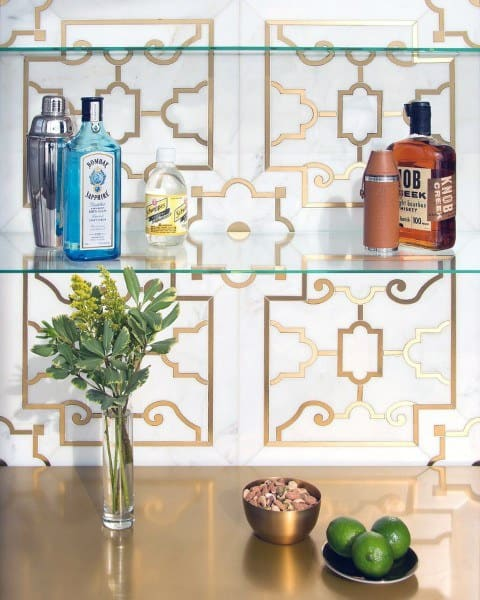 Ornate Gold Themed Mini Bar Ideas