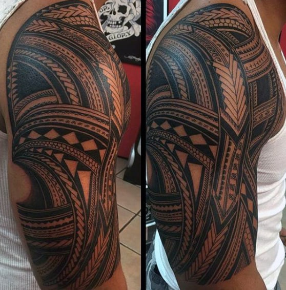 Ornate Guys Black Ink Samoan Tribal Half Sleeve Tattoo
