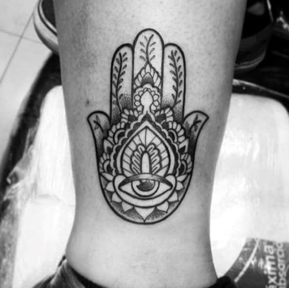 Ornate Hamsa Eye Male Lower Leg Tattoos