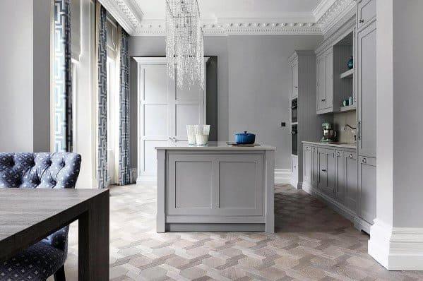 Ornate Hardwood Flooring Pattern Kitchen Design Ideas