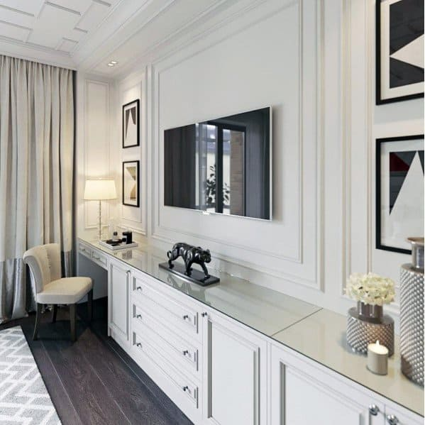 Ornate Home White Painted Tv Wall Interior Ideas
