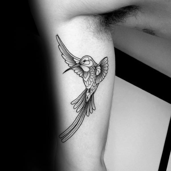 Ornate Hummingbird Inner Arm Tattoo Designs For Males