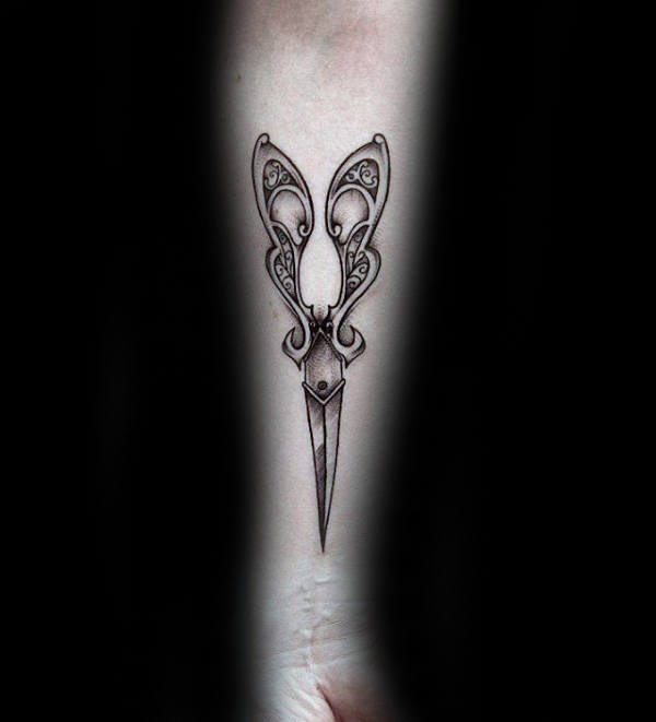 Ornate Inner Forearm Male Tattoo Scissor Design