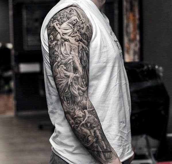 Ornate Intricate Mens Finely Detailed Jesus Angel Full Sleeve Tattoos