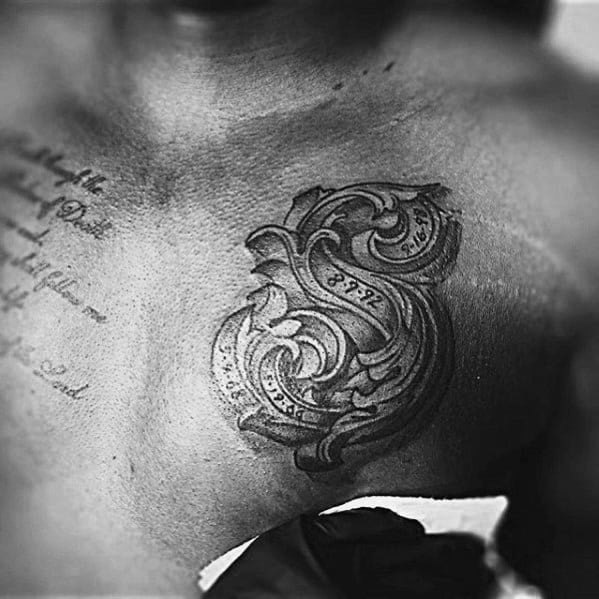 Ornate Letter S Mens Small Chest Tattoos