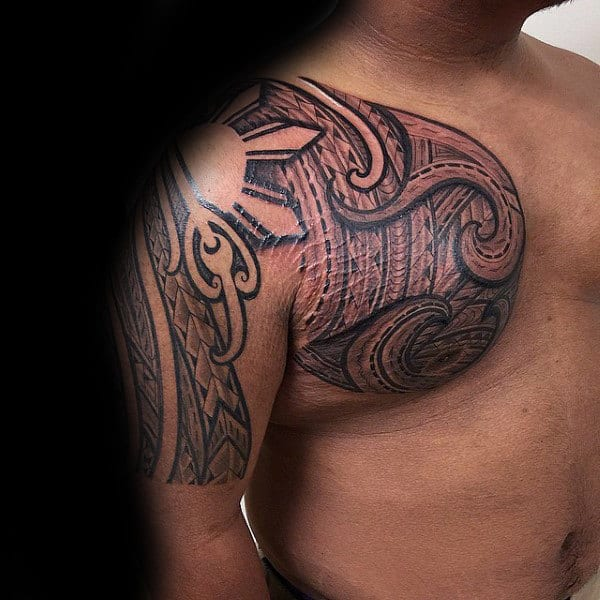Ornate Male Arm And Chest Sun Tribal Tattoos