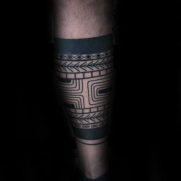 Ornate Male Leg Band Tattoos