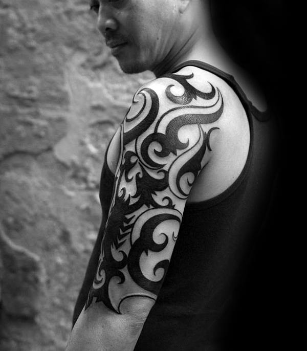 Ornate Male Tribal Half Sleeve Ideas For Tattoos