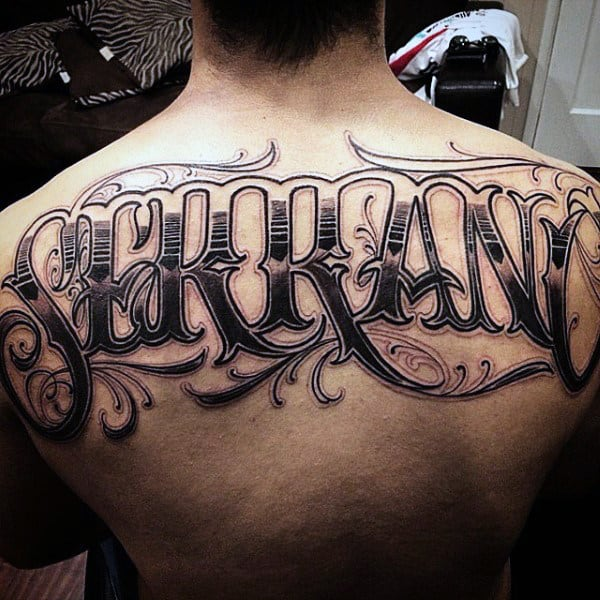 Ornate Male Upper Back Guys Last Name Tattoo Design Ideas