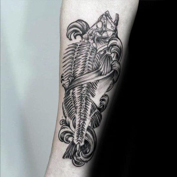 Ornate Mens Fish Skeleton Inner Forearm Tattoos