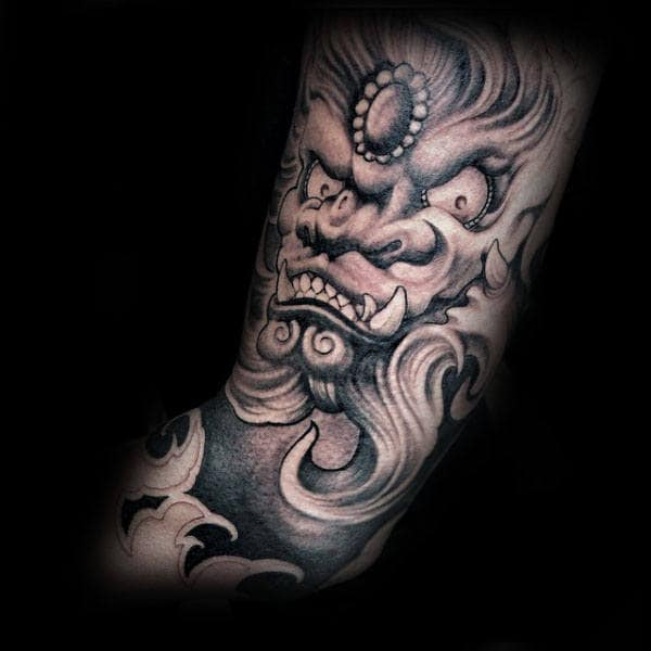 Ornate Mens Foo Dog Sleeve Tatoto