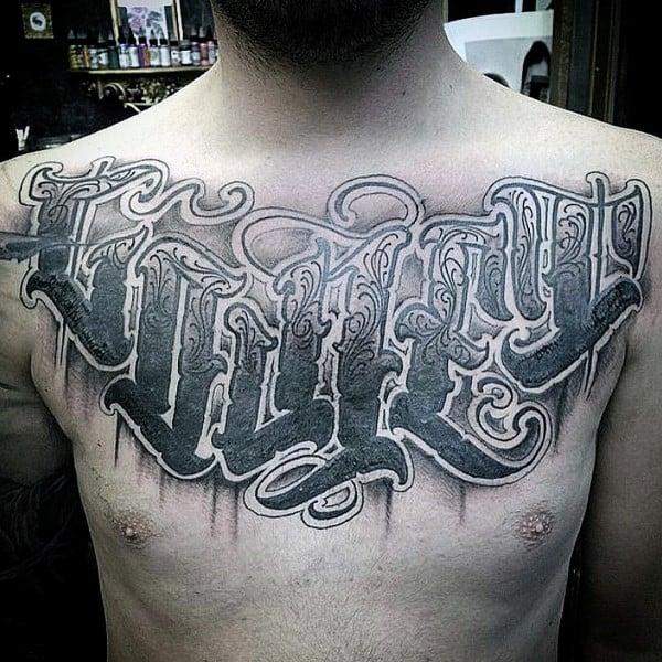 Ornate Mens Modern Script Tattoo On Upper Chest