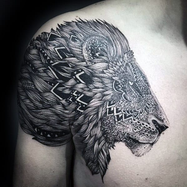 Ornate Mens Pattern Lion Shoulder Tattoo Designs