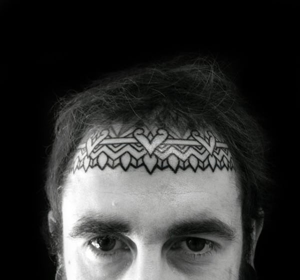Ornate Mens Top Of Face Pattern Tattoo Below Hair