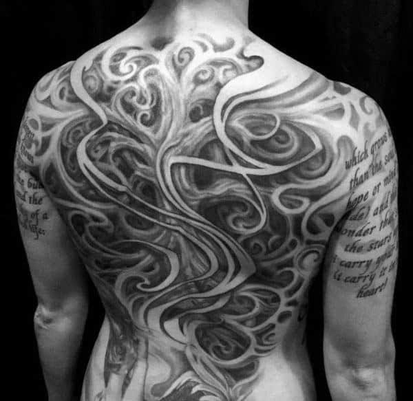 Ornate Mens Twisted Tree Of Life Full Back Tattoos