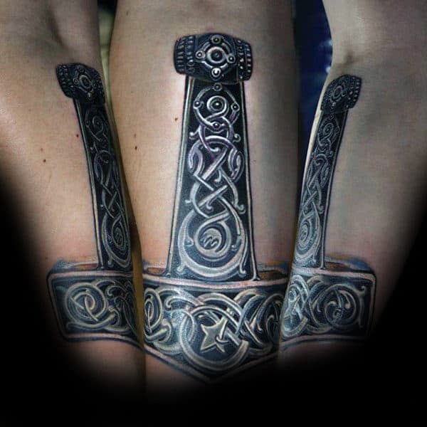 Ornate Mjolnir Tattoo On Guys Inner Forearms