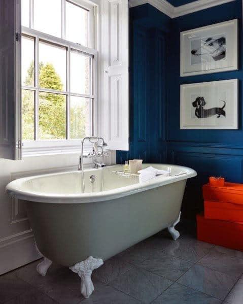 Ornate Molding Interior Ideas Blue Bathroom