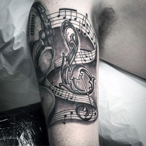 Ornate Music Note Headphones Guys Inner Arm Tattoos