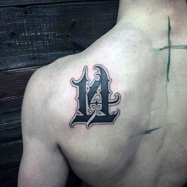 Ornate Numbers Mens 14 Shoulder Blade Tattoo