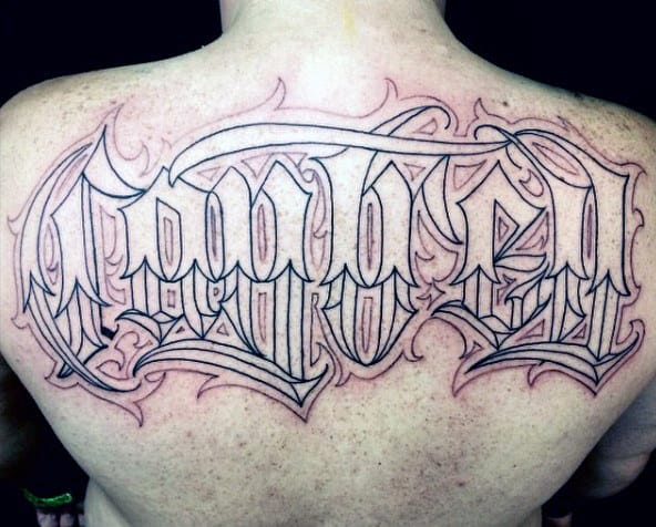 Ornate Old English Mens Upper Back Name Tattoos
