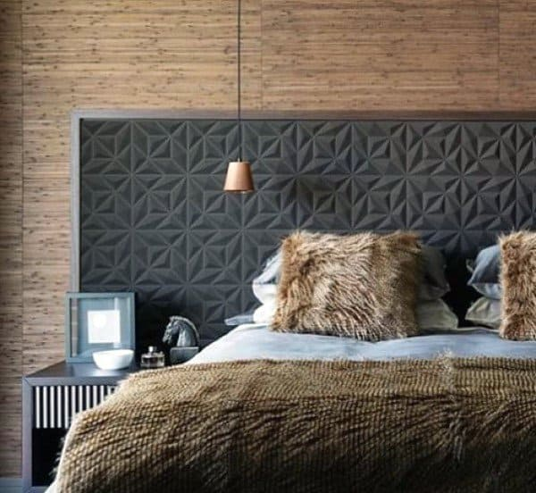 Ornate Pattern Grey Headboard Ideas