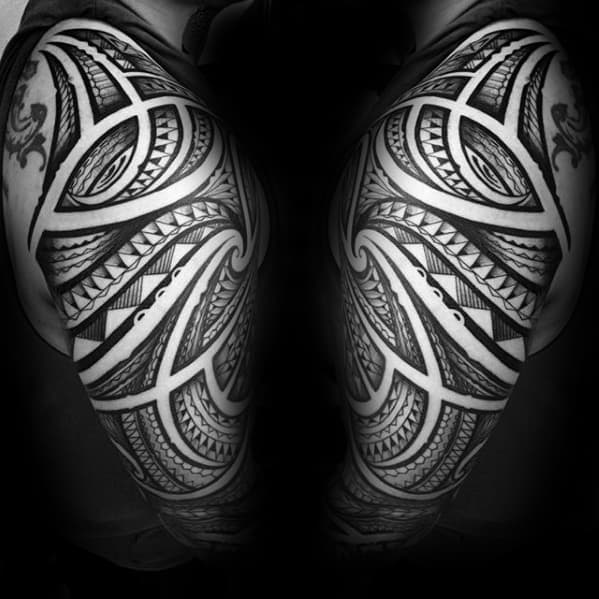 Ornate Pattern Guys Sick Tribal Half Sleeve Tattoos