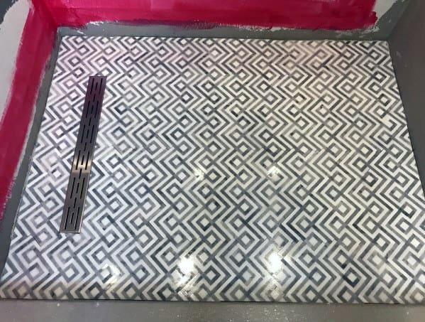 Ornate Pattern Shower Floor Tiles