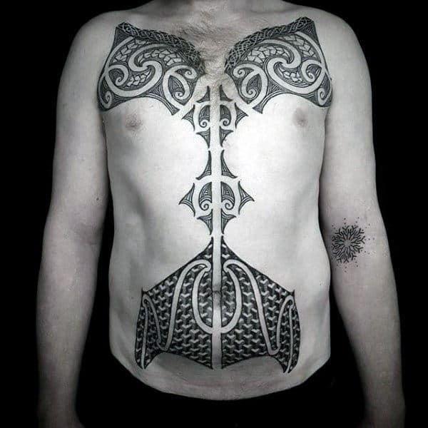Ornate Polynesian Tribal Male Chest Tattoo