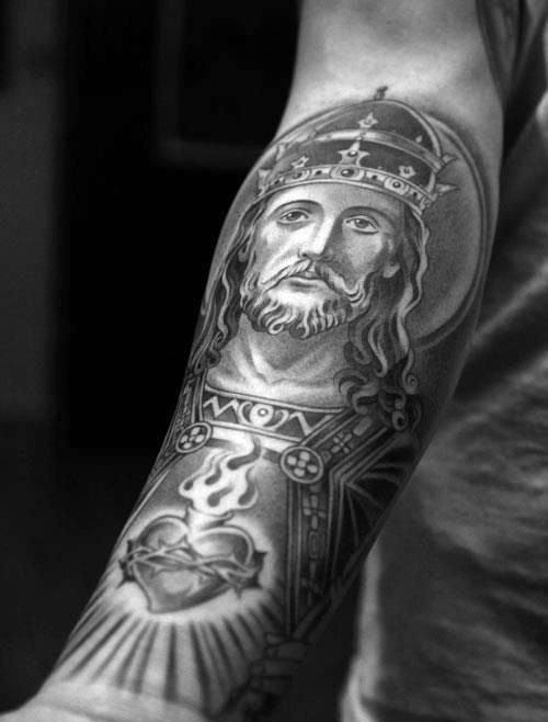 Ornate Sacred Heart With Jesuse Mens Forearm Sleeve Tattoo