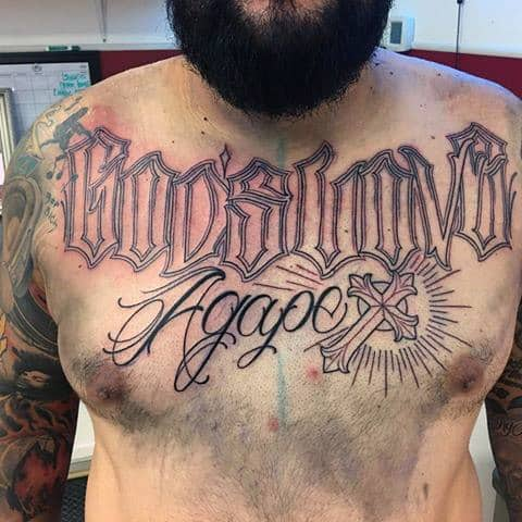 Ornate Script Lettering Agape Cross Mens Chest Tattoo