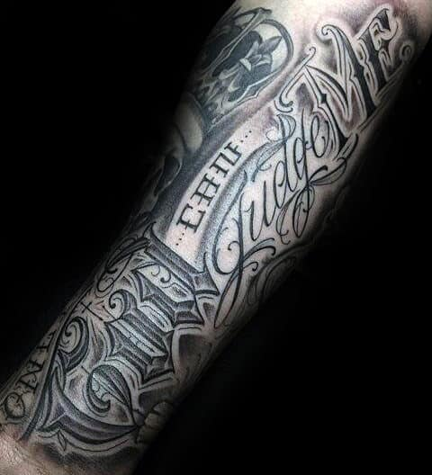 ornate script only god can judge me guys arm tattoo ideas