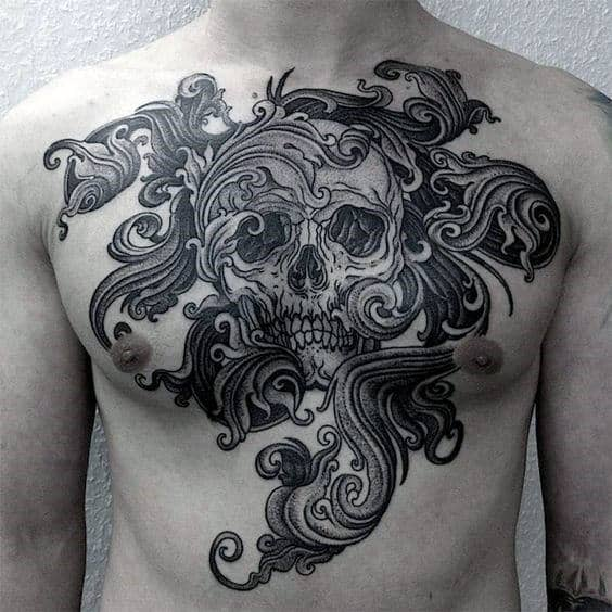 Ornate Skull Artistic Mens Upper Chest Tattoo