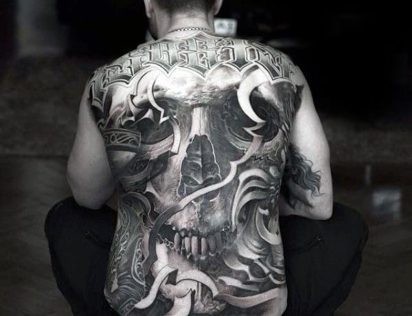 Ornate Skull Crazy Back Tattoos For Men