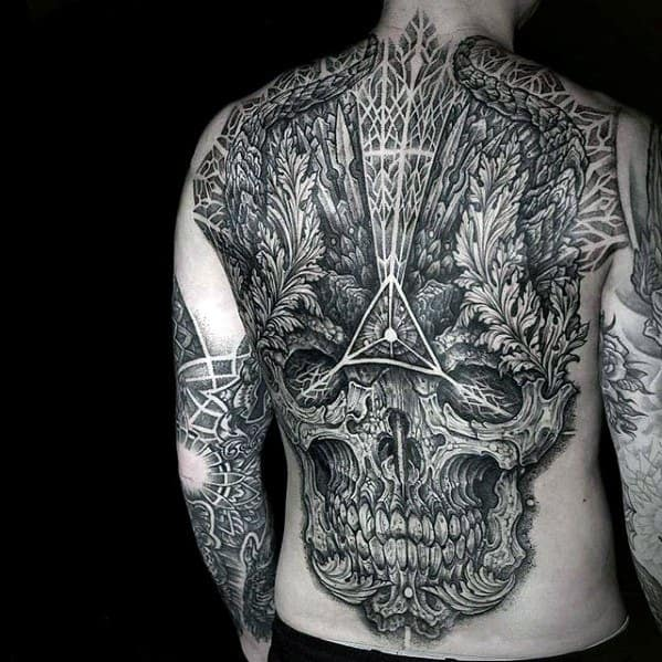 Ornate Skull Geometric Awesome Back Tattoo Design Ideas For Males