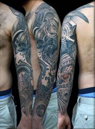 Ornate Skulls Guys Awesome Shaded Sleeve Tattoos