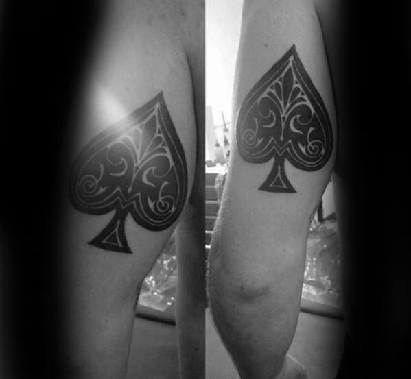 Ornate Spade Back Of Arm Black Ink Tattoo Designs For Men