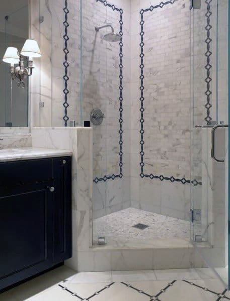 Ornate Tile Ideas Corner Shower