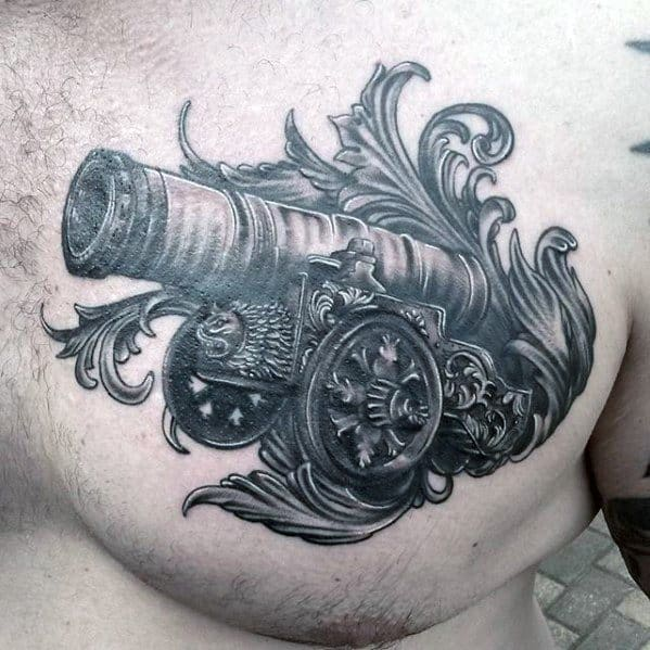 Ornate Upper Chest 3d Cannon Mens Tattoo Designs