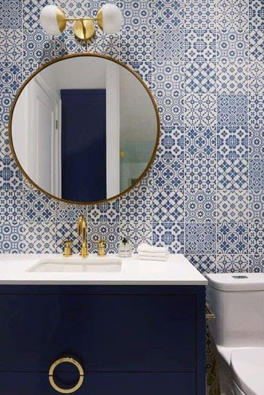 Ornate Wallpaper Ideas Blue Vanity Bathroom