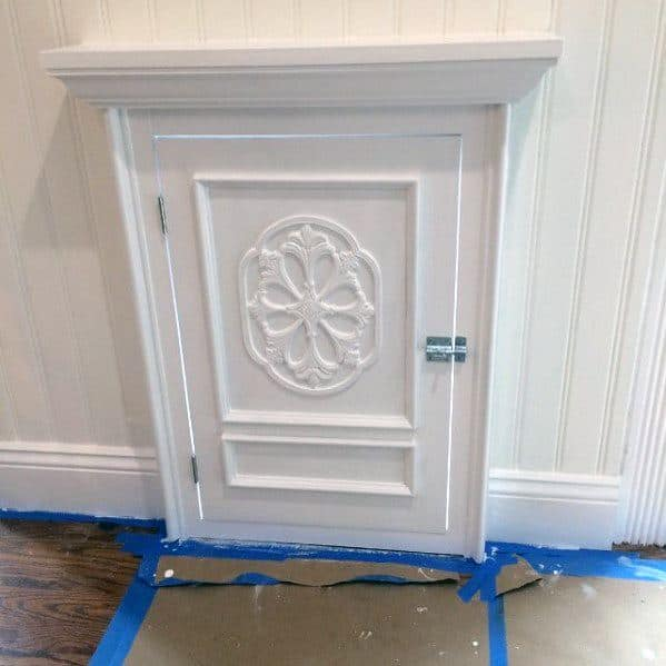 Ornate White Painted Door With Luxury Trim Home Ideas For Doggy Doors
