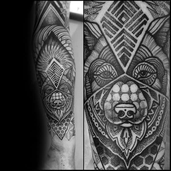 Ornate Wolf Head Geometric Forearm Mens Tattoo Ideas