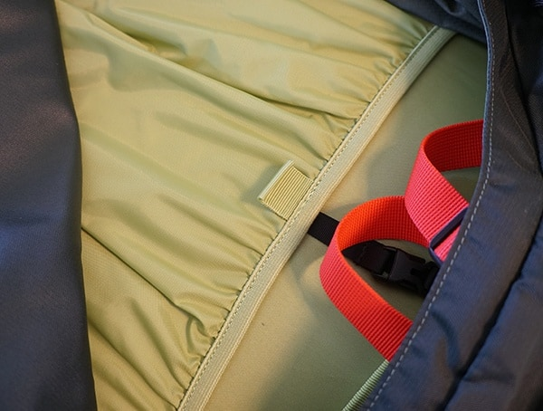 Osprey Aether Ag 85 Review Interior Side Zipper Open