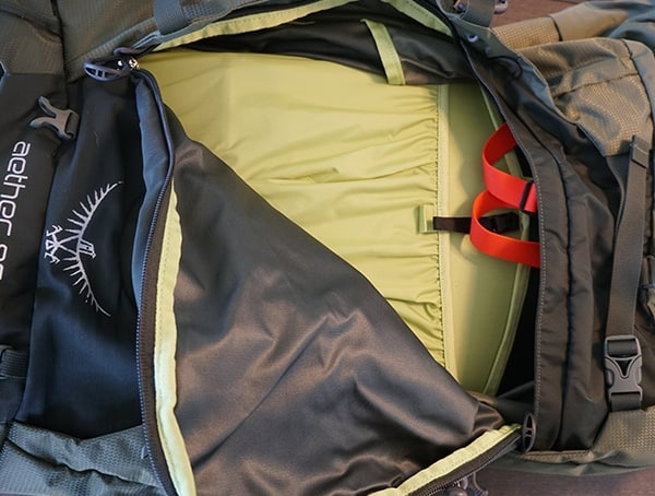 Osprey Aether Ag 85 Side Zipper Open