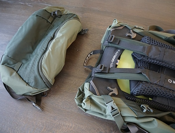 Osprey Aether Ag 85 With Lid Removed From Backpacking Pack
